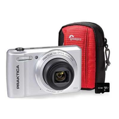 Praktica Luxmedia Z212-S Compact Camera, Case & 32 GB MicroSD Memory Card Bundle - Silver