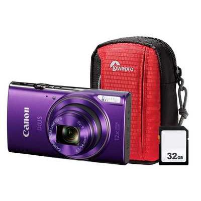 Canon IXUS 285 HS Compact Camera with 32 GB SD Card & Case - Purple