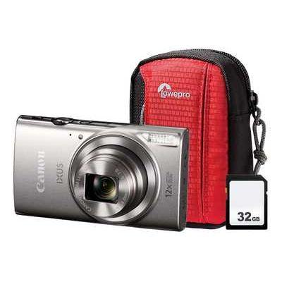 Canon IXUS 285 HS Compact Camera with 32 GB SD Card & Case - Silver
