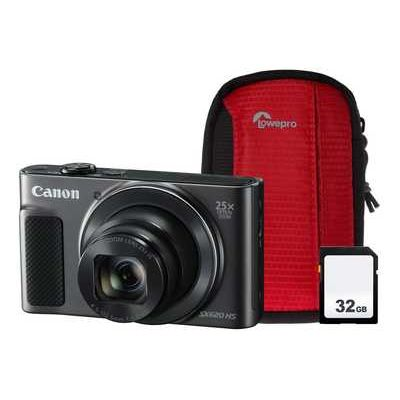 Canon PowerShot SX620 HS Superzoom Compact Camera with 32 GB SDHC Class 10 Card & Case - Black