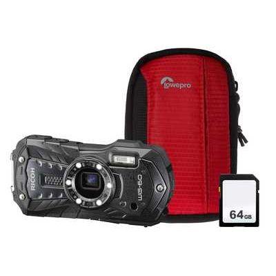Ricoh WG-60 Camera Kit including 64GB SD Card & Protective Bumper Case - Black