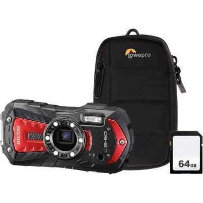 Ricoh WG-60 Camera Kit including 64GB SD Card & Protective Bumper Case- Red