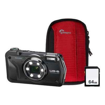 Ricoh WG-6 Tough Compact Camera Kit including 64GB SD Card & Protective Bumper Case - Black