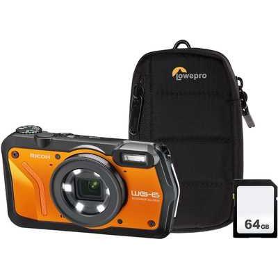 Ricoh WG-6 Tough Compact Camera Kit including 64GB SD Card & Protective Bumper Case - Orange