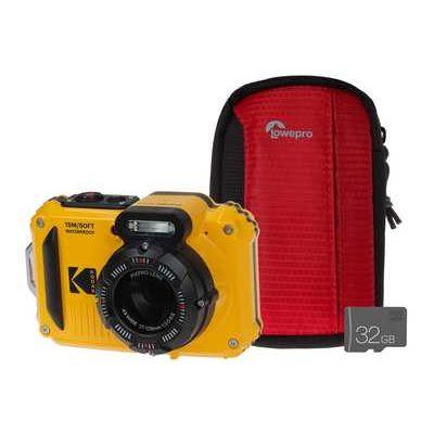 Kodak PIXPRO WPZ2 Waterproof Rugged Camera Kit including 32GB MicroSD Card & Bumper Case - Yellow