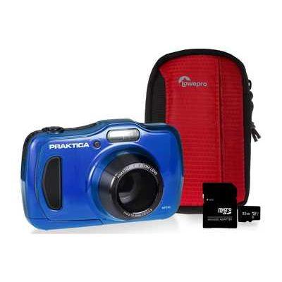PRAKTICA WP240 Waterproof Camera Kit inc 32GB MicroSD Card and Case - Blue