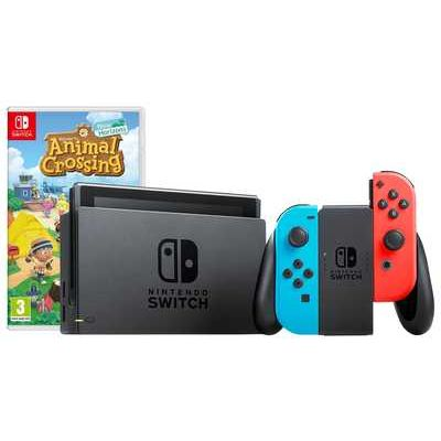 Nintendo Switch 1.1 Console with Joy-Con Controllers + Animal Crossing - Neon Blue/ Red