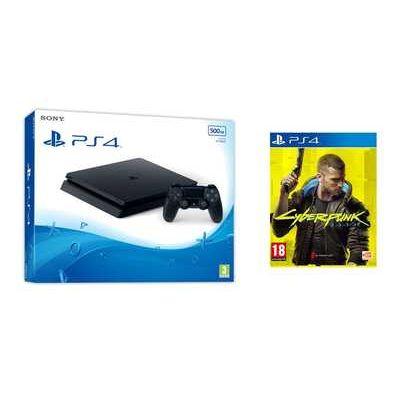 Sony PlayStation 4 500GB Jet Black Console with Cyberpunk 2077