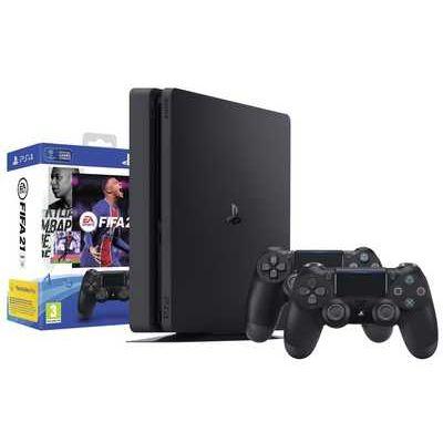 Sony PlayStation 4 500GB Black Console Bundle inc Additional DualShock Controller & FIFA 2021 Digital Download Game
