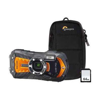 Ricoh WG-70 16MP 5x Zoom Tough Compact Camera Kit inc 64GB SD Card, Case - Orange