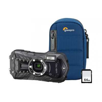 Ricoh WG-70 16MP 5x Zoom Tough Compact Camera Kit inc 64GB SD Card & Case - Black