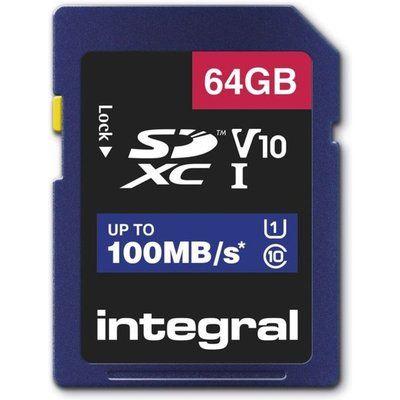 Integral 64GB High Speed V10 100mb Class 10 UHS-I U1 SDHC Memory Card