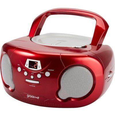 Groov-E Original Boombox GV-PS733 Portable FM/AM Boombox - Red