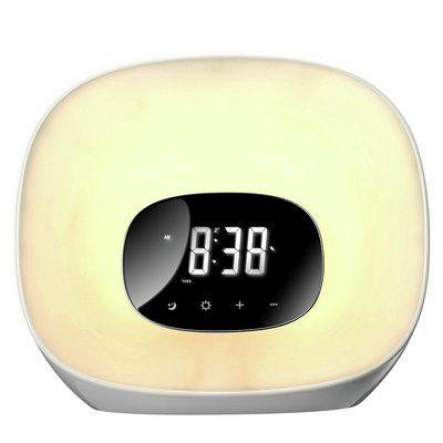 Groov-E Curve Wake-Up Light with FM Radio & Clock - White