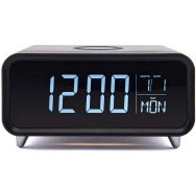 Groov-E Athena Alarm Clock with Wireless Charger - Black & Silver, Black