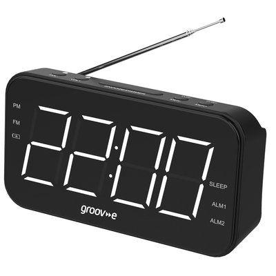 Groov-e Curve Wake Up Clock Radio - Black