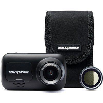 Nextbase 222G Full HD Dash Cam, Case & Polarising Filter Bundle - Black