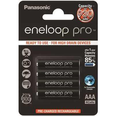 Panasonic Eneloop Pro Rechargeable Ni-MH AAA Batteries - Pack of 4