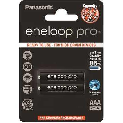 Panasonic Eneloop Pro Rechargeable Pro Ni-MH AAA Batteries - Pack of 2