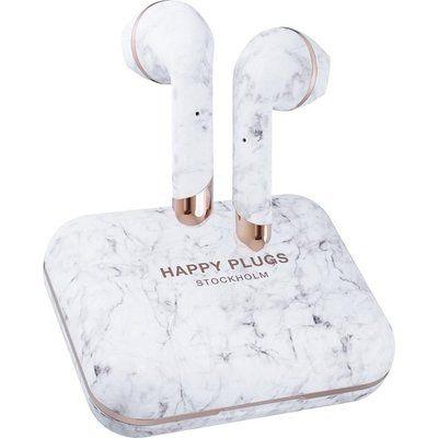 Happy Plugs Air 1 Plus Wireless Bluetooth Earphones - White Marble
